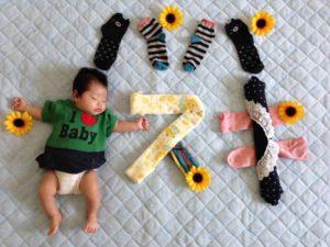 赤ちゃんの寝相アート