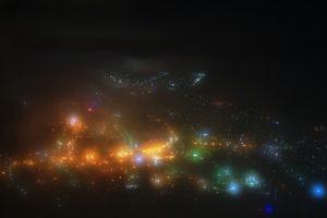 霧にかすむ夜景