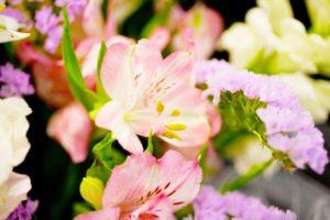 献花で棺の遺体を飾る