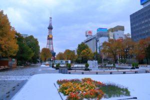 大通り公園の初雪
