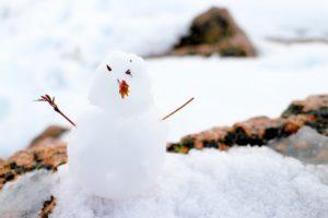 雪解けの雪だるま